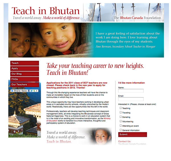 Bhutan Canada Foundation teacher website