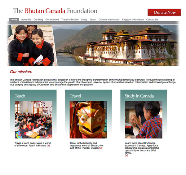 The Bhutan Canada Foundation website